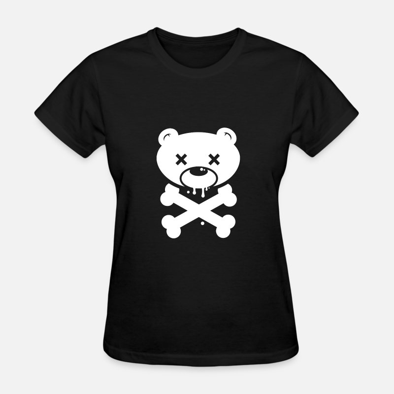 Funny T-Shirts - Bear Skull and Cross Bones - Women's T-Shirt black