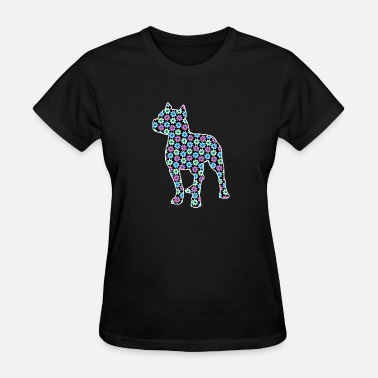 Pit Bull Terrier Silhouette Pitbull Purple Spring Floral Pattern - Women's T-Shirt