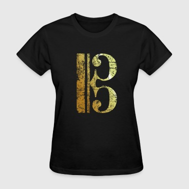Key Bass Clef C Clef - Viola Key - Tenor Clef (Ancient Gold) - Women's T-Shirt
