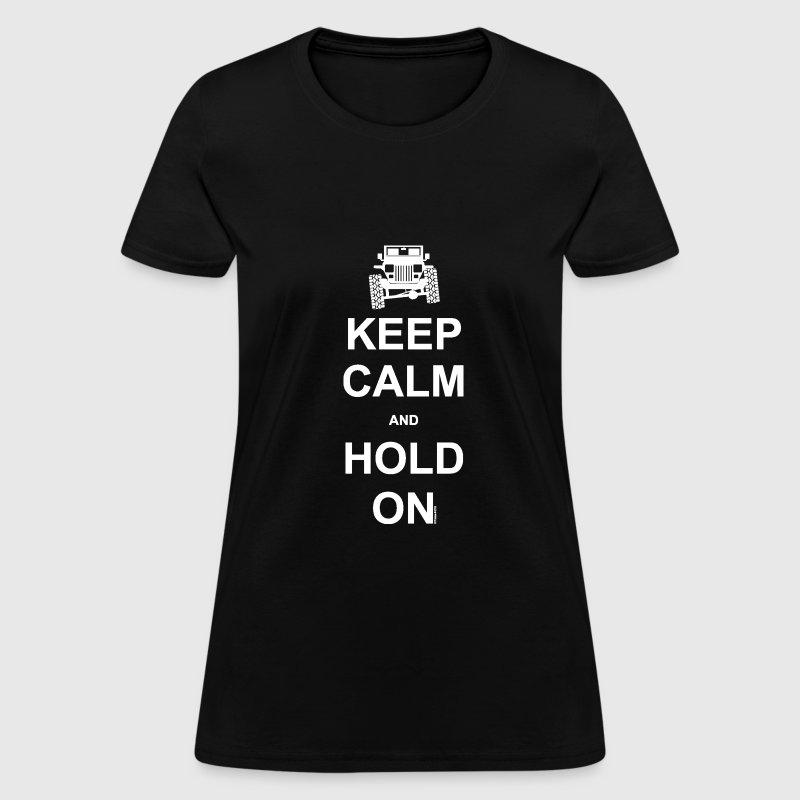 Mantenere La Calma E Jeep Sulla T-shirt Scura Delle Donne CWuT0m