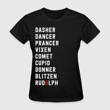 Santa List List of Santa's Reindeer - Women's T-Shirt