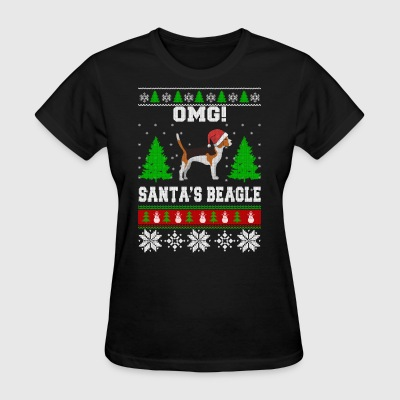 OMG! Santa's Beagle, Best Shirt For Beagle Lover - Women's T-Shirt