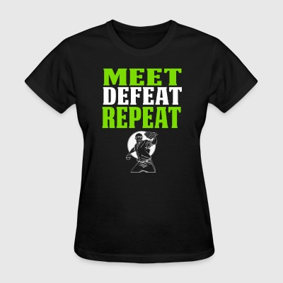 Cool Baseball PItcher T Shirt Gift Meet Defeat - Women's T-Shirt