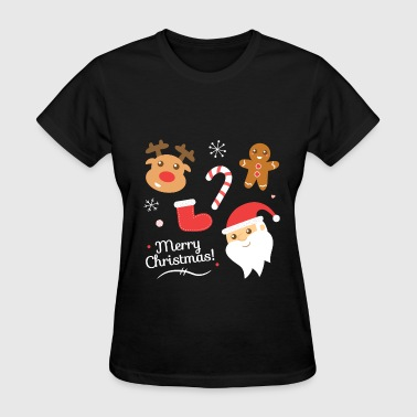Cute Christmas with Santa and Reindeer - Women's T-Shirt