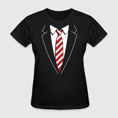 Tuxedo Striped Tie - Women's T-Shirt