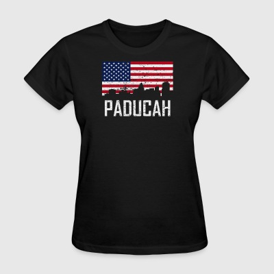 Paducah Kentucky Skyline American Flag Distressed - Women's T-Shirt