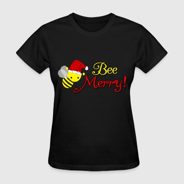 Bee Merry Christmas Holiday Bumblebee Santa Hat - Women's T-Shirt