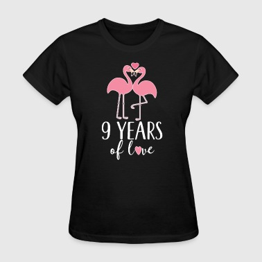 9th Anniversary Flamingo Couple Gift - Women's T-Shirt