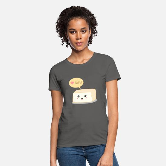 Vegan T-Shirts - love tofu, cute food doodle - Women's T-Shirt charcoal