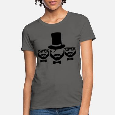 Monocle team 3 friends crew party sir cylinder hat monocle - Women's T-Shirt