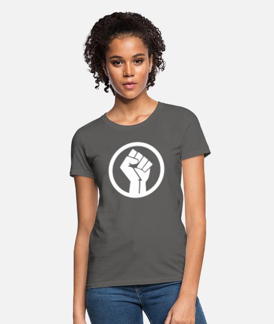 Raised Fist T-Shirts - Raised Fist - Women's T-Shirt charcoal