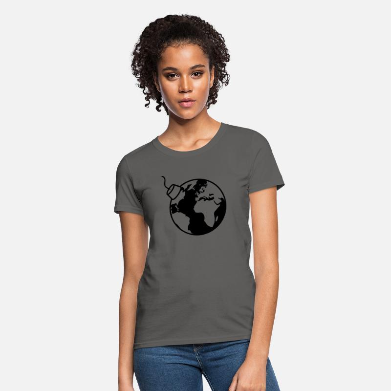 World T-Shirts - earth planet world round sphere circle text pole b - Women's T-Shirt charcoal