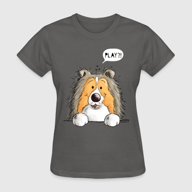 Playing Sheltie Dog - Dogs - Cartoon - Gift - Pup - Women's T-Shirt