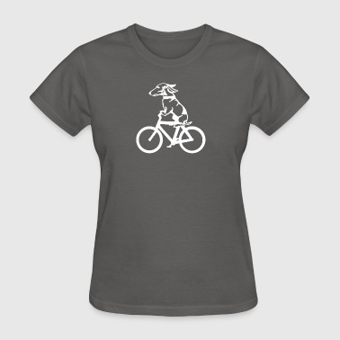 Dog on byclce shirt- Funny DOg On Bicycle tshirt - Women's T-Shirt