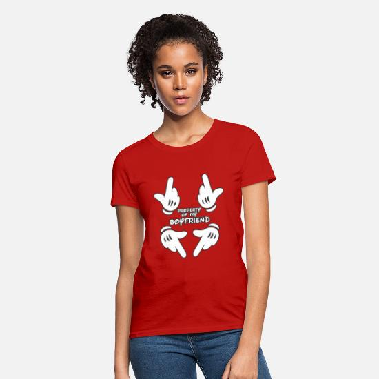 Boyfriend T-Shirts - Property of my boyfriend - Women's T-Shirt red