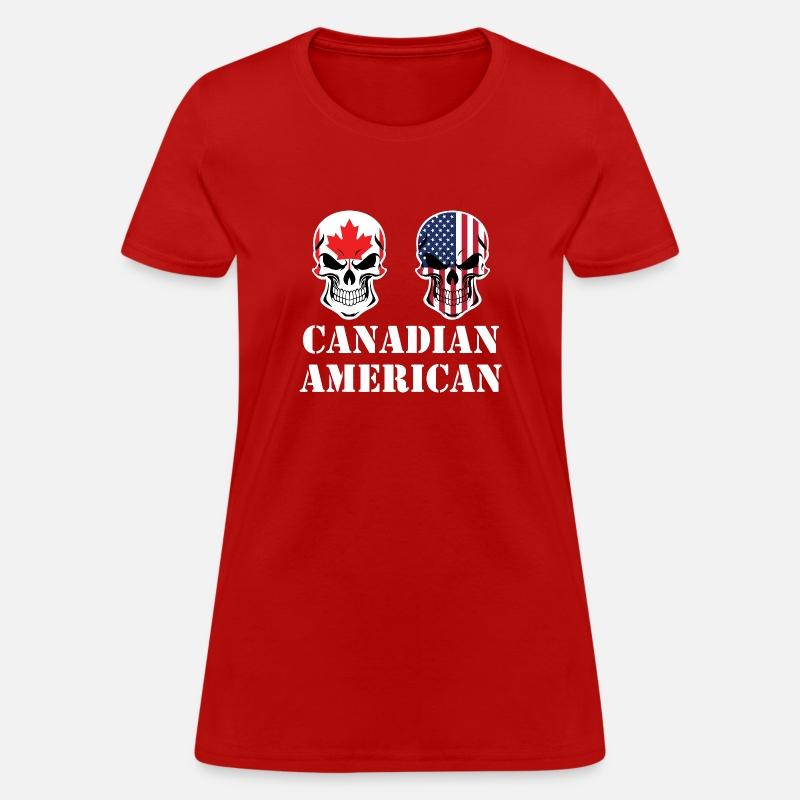 778b6954519 Canadian American Flag Skulls Women s T-Shirt