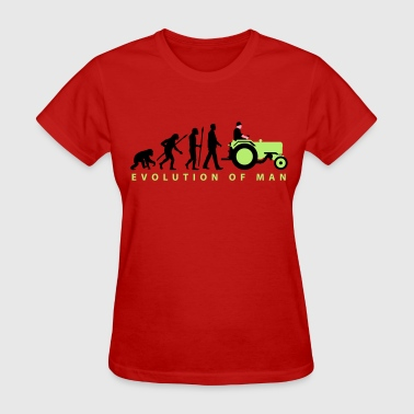 evolution_of_farmer_with_tractor_09_2016 - Women's T-Shirt