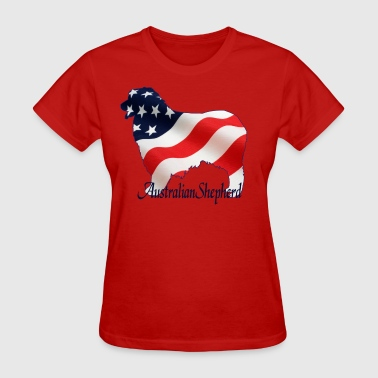 Aussie Flag Dogs - Australian Shepherd - Women's T-Shirt