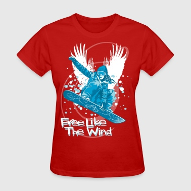 Snowboarding girl and wings - Women's T-Shirt