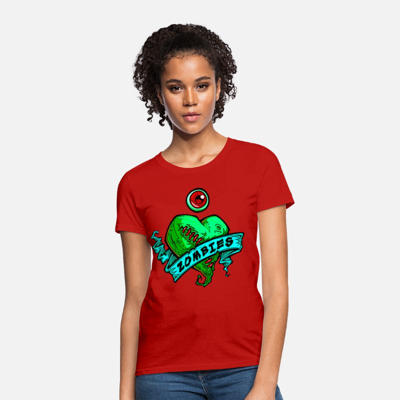 Day T-Shirts - h3_eye_heart_zombies_green - Women's T-Shirt red