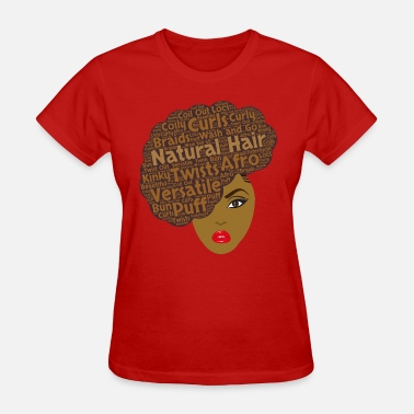 Natural Hair Brown Side Afro Art - Women's T-Shirt