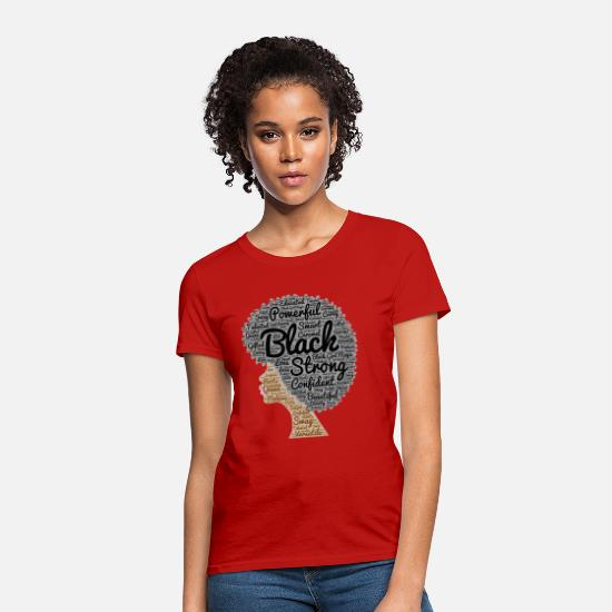 Black T-Shirts - Natural Hair Afro Word Art - Women's T-Shirt red