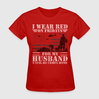 July Girlfriend Red Friday Shirts For Veteran Military Husband - Women's T-Shirt