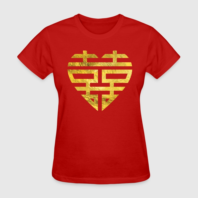 Gold Double Happiness Symbol in heart shape - Women's T-Shirt