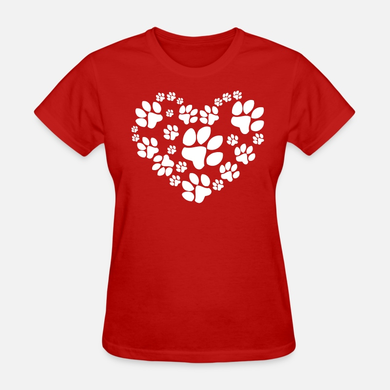 Dog T-Shirts - Paws Heart - Women's T-Shirt red