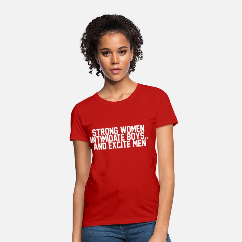 Boy T-Shirts - Strong women intimidate boys.. and excite men - Women's T-Shirt red