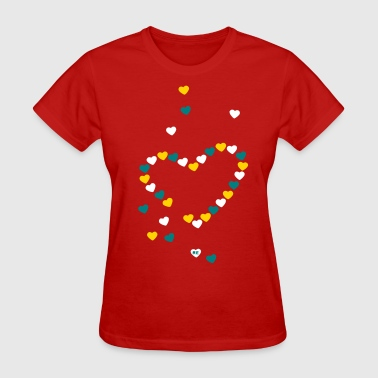 Australia Day Floating Heart Hearts Love Valentine Couple Kiss  - Women's T-Shirt