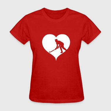 Indoor Hockey Hockey player heart indoor hockey field hockey - Women's T-Shirt