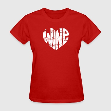 Vintage Graphic Wine Heart in Red - Women's T-Shirt
