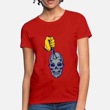 Knife Stab skull head knife stabbing death planted - Women's T-Shirt