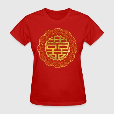 Double Happiness Gold Double Happiness Symbol in Peony Frame - Women's T-Shirt