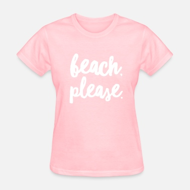 Coastal Design Beach Please Funny Summer Coastal Calligraphy - Women's T-Shirt