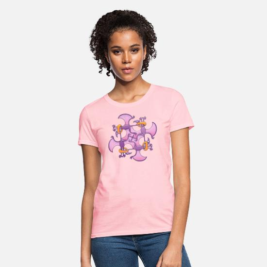 Caricature T-Shirts - Pterodactyls in a circle bitting each other's legs - Women's T-Shirt pink