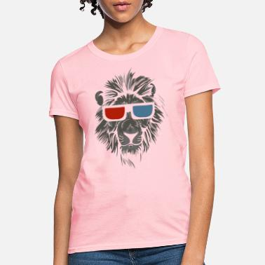 3d Cool Lion With Glasses - Women's T-Shirt