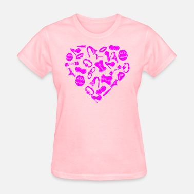 Bondage Freak Bondage Toy Kink Heart  ©WhiteTigerLLC.com  - Women's T-Shirt