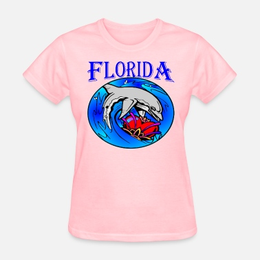 Florida Key Florida Dolphin & Heart  ©WhiteTigerLLC.com  	 - Women's T-Shirt