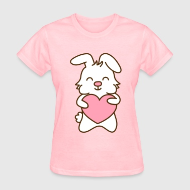 cute bunny with heart, cute love - Women's T-Shirt