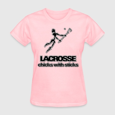 Lacrosse Chicks With Sticks - Women's T-Shirt