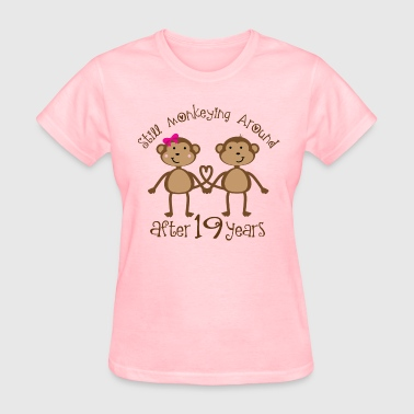 19th Anniversary Funny Monkey Couple Gift - Women's T-Shirt