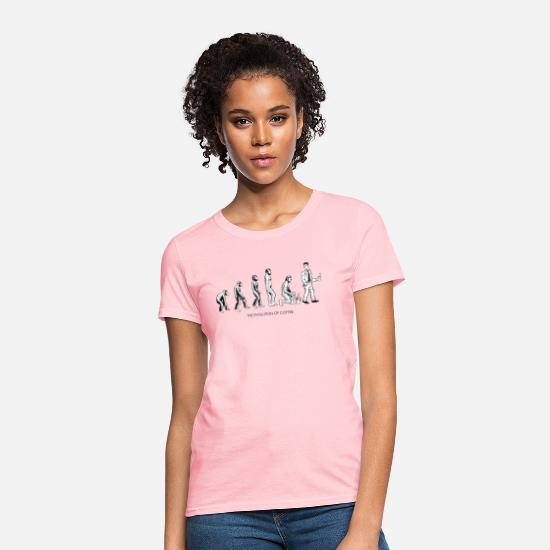 Funny T-Shirts - The Evolution Of Coffee - Women's T-Shirt pink