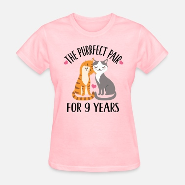 9 Year Anniversary Gift 9th Anniversary Cat Couple 9 Years - Women's T-Shirt