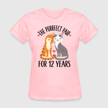 12th Anniversary Couples Cats - Women's T-Shirt