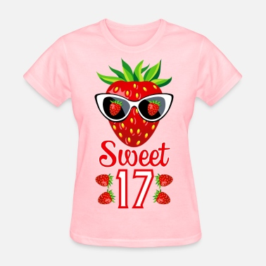 2 Sweet 17th Birthday Girlie Strawberry Sunglasses - Women's T-Shirt