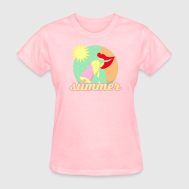 Summer, sun and ice - red lips eating ice t-shirt - Women's T-Shirt