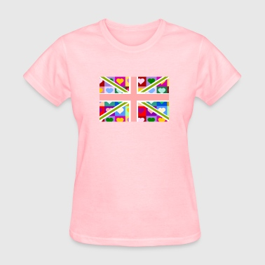 British Girls Union Jack of Hearts - Pink British Flag - Women's T-Shirt