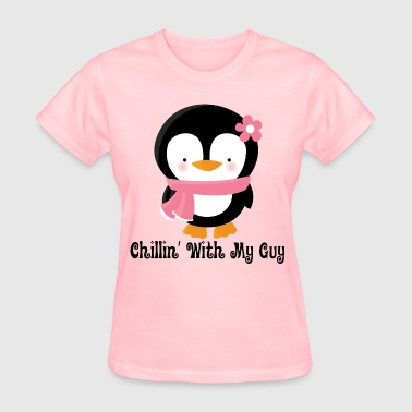 Couples Penguin Girl (Chillin With My Guy) - Women's T-Shirt
